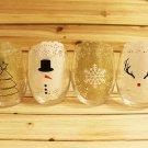 ASgift02 - Christmas Wine Glasses- Christmas Wine Glass Set- Christmas Glasses for Gift
