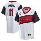 Men's Cleveland Indians #11 Jose Ramirez Little League Classic White Jersey Cool Base Stitched