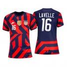USWNT #16 Rose Lavelle Navy Red Away Stadium Womens Soccer Jersey 4-Stars 2021/22