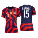 USWNT #15 Megan Rapinoe Navy Red Away Stadium Womens Soccer Jersey 4-Stars 2021/22