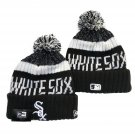 Chicago White Sox Winter Cap Baseball Sport Cuffed Knit Hat with Pom Black/White