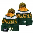 Oakland Athletics Winter Cap Baseball Sport Cuffed Knit Hat with Pom Green/Yellow