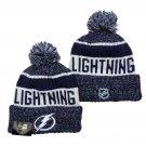Tampa Bay Lightning Ice Hockey Beanies Winter Cap Sport Cuffed Knit Hat with Pom - Navy/White
