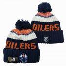 Edmonton Oilers Ice Hockey Beanies Winter Cap Sport Cuffed Knit Hat with Pom - Navy
