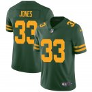 Green Bay Packers #33 Aaron Jones Green Throwback Limited Football Jersey for Men Stitched