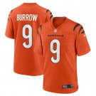 Cincinnati Bengals #9 Joe Burrow 2021 Orange Game Football Jersey for Men Stitched