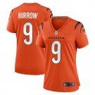Cincinnati Bengals #9 Joe Burrow 2021 Orange Game Football Jersey for Women Stitched