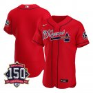 Blank Atlanta Braves Los Bravos Red Jersey for Men Stitched 150th Anniversary Flex Base
