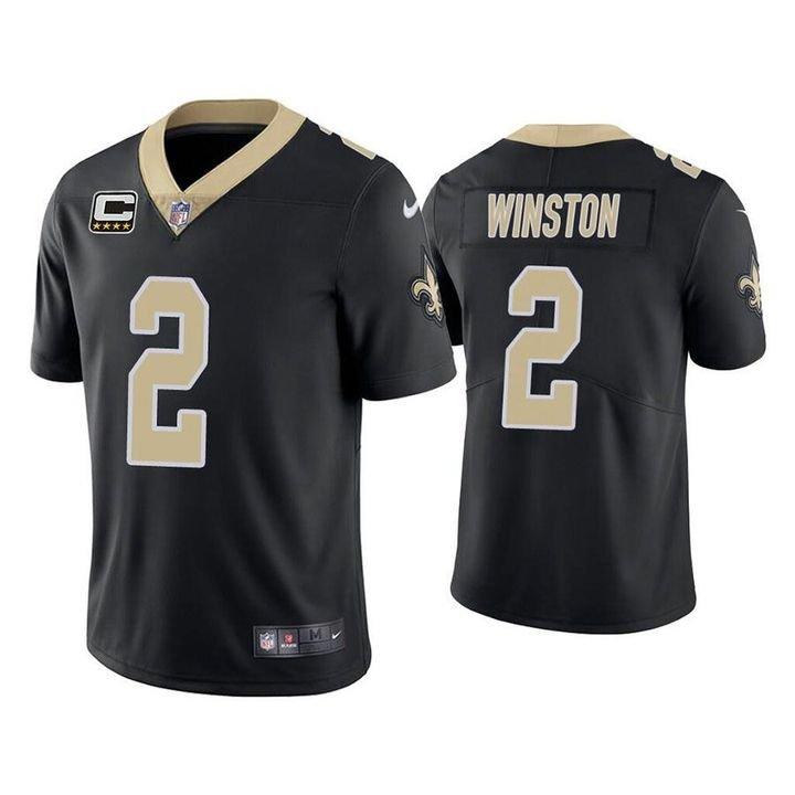 Jameis Winston New Orleans Saints Black Vapor Limited Stitched Jersey Captain Patch For Men