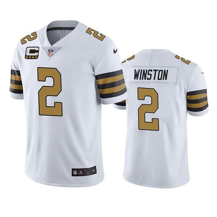 Jameis Winston New Orleans Saints White Color Rush Vapor Limited Jersey Captain Patch For Men