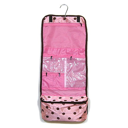Hanging Cosmetic Case Pink & Brown Microfiber