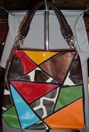 Giraffe Mulit Color Patch Designer Inspired Large 2 way hobo Tote
