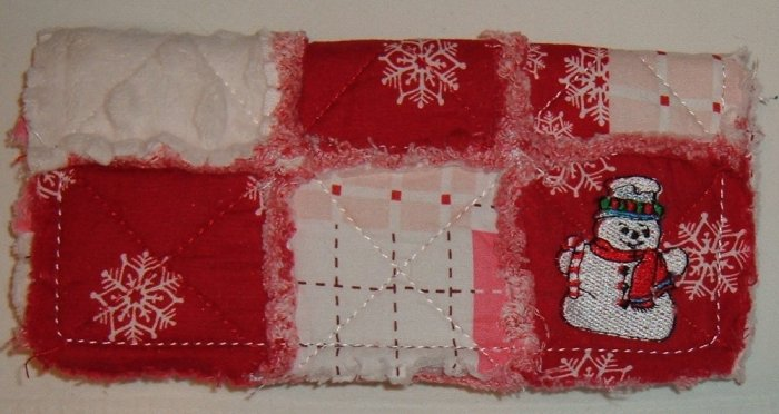 Red Patchwork Rag Snowman Long Wallet