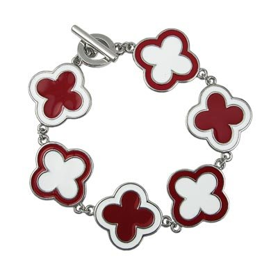 Red and White Enamel Toggle Bracelet Lead Free