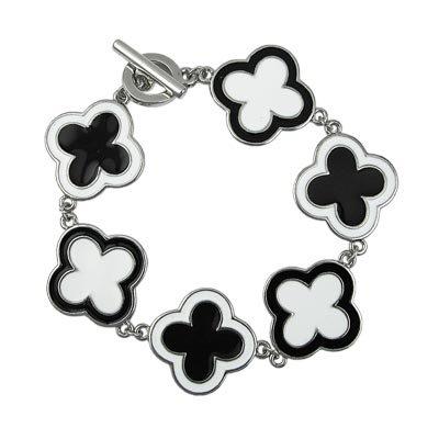 Black and White Enamel Toggle Bracelet Lead Free