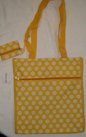 Yellow & White Polka Dot Shopping  TOTE  Purse