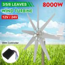 3/5/8 Blades 8000W Wind Turbine Generator Unit DC 12/24V Power Charge Controller