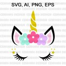 Unicorn SVG, Unicorn head Svg, Unicorn Clip Art, Unicorn Face SVG, Cute Unicorn SVG