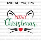 Meowy Christmas SVG, Cat Christmas SVG, meowy cat mas, Cat Meow Christmas