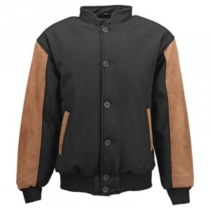 CASUAL OUTFITTERS GENUINE SUEDE LEATHER AND WOOL BLEND JACKET ~ SIZE LARGE