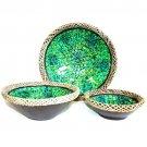Rattan Mosaic Bowls - Set of 3 - Golden Green
