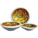 Rattan Mosaic Bowls - Set of 3 - Ruby Dusk