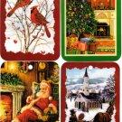 Get All 4 Winter Christmas Window/Wall Ornaments Plaques Signs Santa, Tree, Cardinal, Church