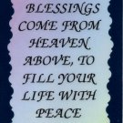 """Love Notes 3"""" x 4"""" Inspirational Saying 1007 May Blessings Come From Heaven Above"""