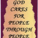 """1037 God Cares For People Through People Love Notes 3"""" x 4"""" Inspirational Saying"""