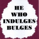 3022 Humorous Refrigerator Magnet Signs He Who Indulges Bulges Diet Help