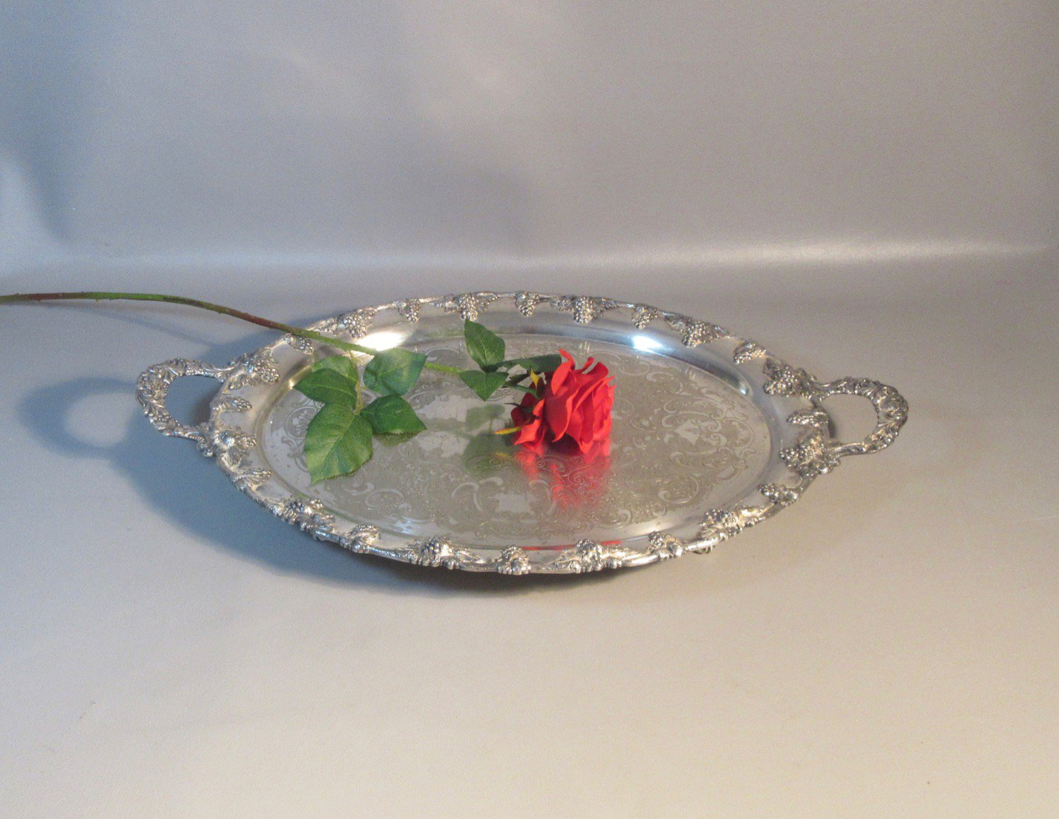 c1870 Nickel Silver Plated Footed Butler�s Serving Tray Gadrooned John Wanamaker