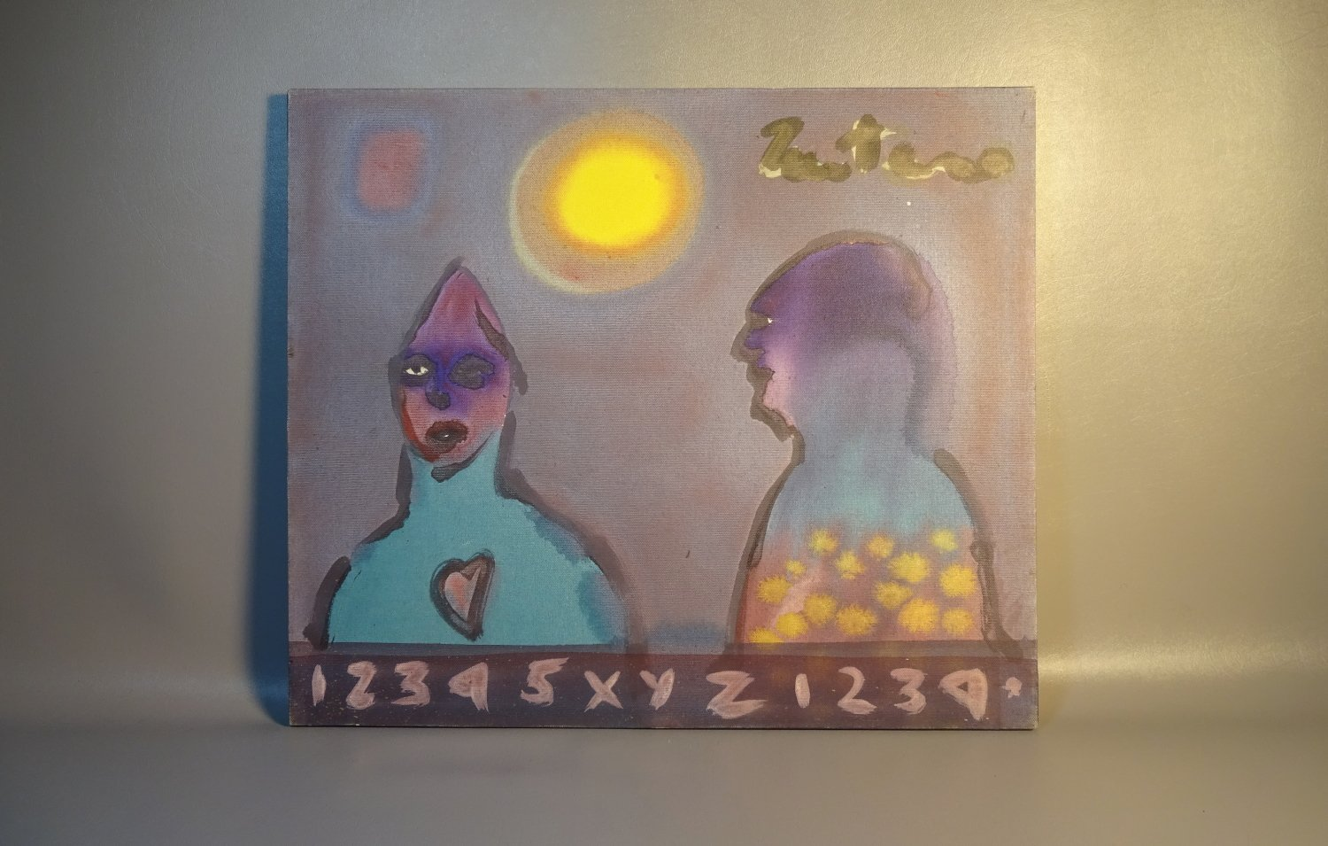 Abstract Acrylic Painting On Canvas Modern Surrealism Style w/2 Figures