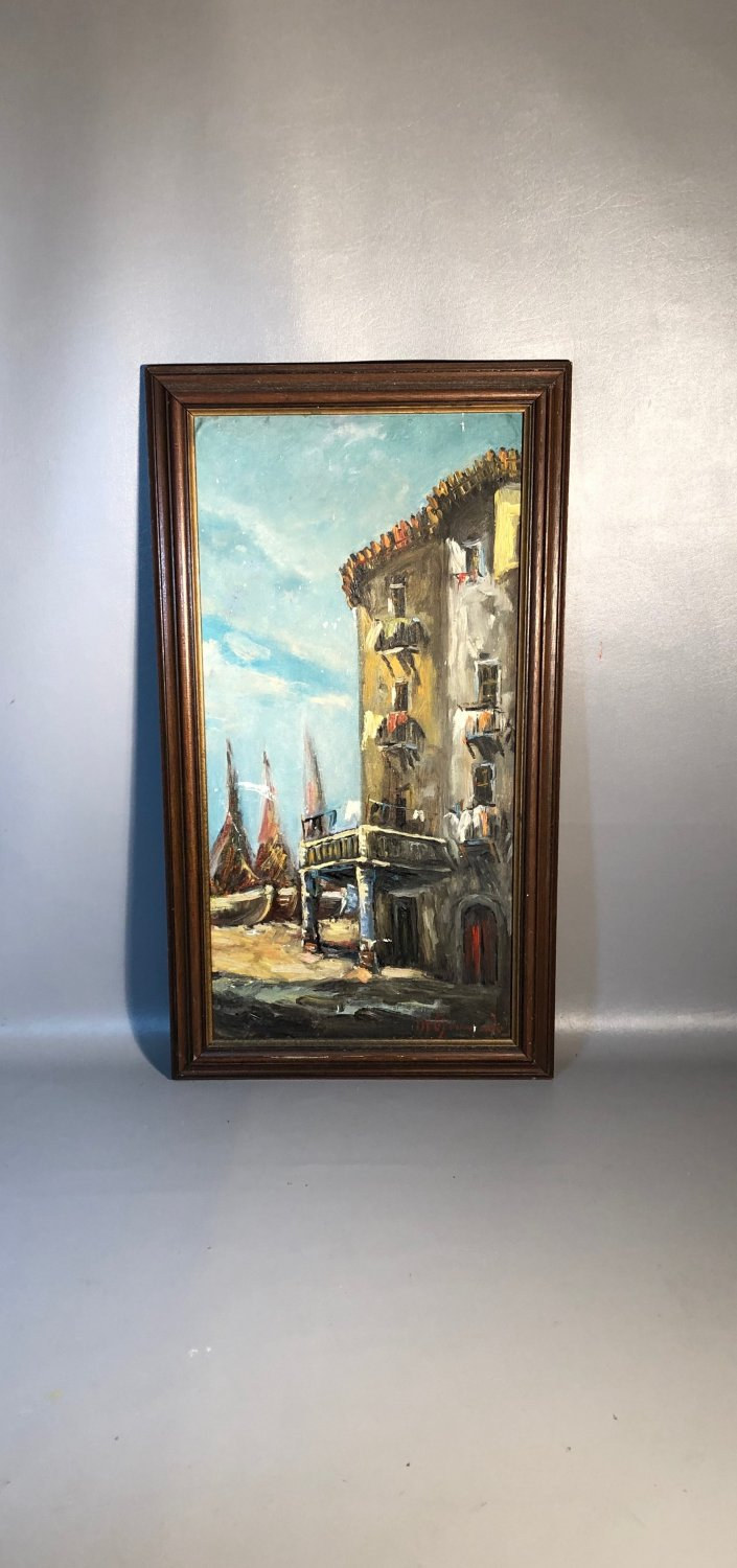 Antique Oil Painting Italian Street Scene w/Boats & Building Impressionist Style