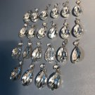 "Lot of 22 Antique 2"" Teardrop Wired Prism Crystals for Chandelier Lamp Multi-Faceted"