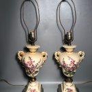 Pair c1940 Table Lamps Signed J. Salas Foxglove Flowers Porcelain Urns w/Handles Metal Base