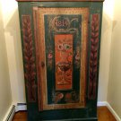 FREE SHIPPING: 1815 Hand Painted Bavarian Armoire German Folk Art Farmhouse Antique All Original