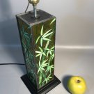 Vintage Stained Glass Table Lamp w/4 Leaded Slag Glass Sides Of Asian Bamboo Leaves & Stalks