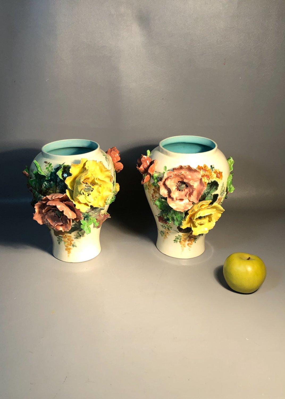 Pair French Majolica Vases Choisy-le-Roi & Royal Worcester Porcelain Applied Poppy Flowers