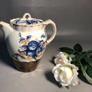 Antique 19th Century Lusterware Coffee Pot w/Blue & White Flower And Gold Accents