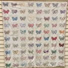 100 Year Old Quilt w/80 Hand Sewn Butterflies On White Cotton 71x75