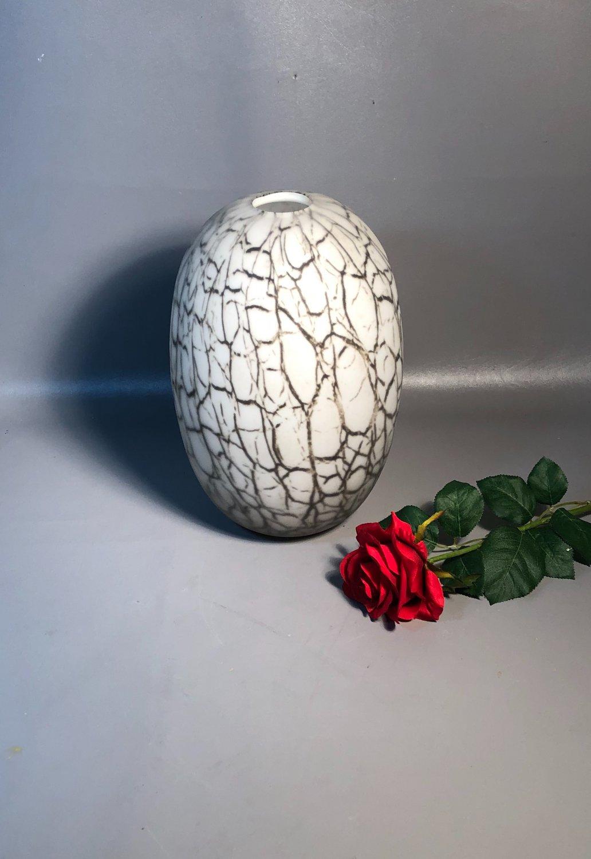 Hand Blown 12� Vase Mottled Gray On White Cased Glass c1960 Eames Era