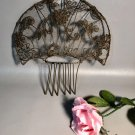 "Antique Victorian Brass Filigree Tiara Hair Comb w/Netting 11"" high x 10"" wide Possibly Spanish"