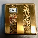 c1930 Art Deco Powder & Rouge Compact w/Built-In Watch Illinois Watch Case Co. Lady Hamilton