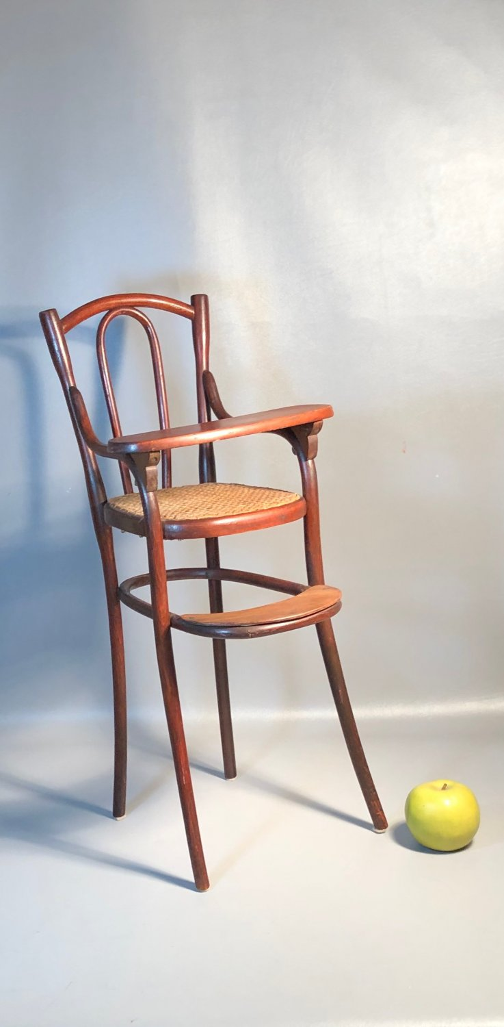 Original 1904 Thonet Doll High Chair �Speissessel 2� Puppenmobel Bentwood w/Caned Seat