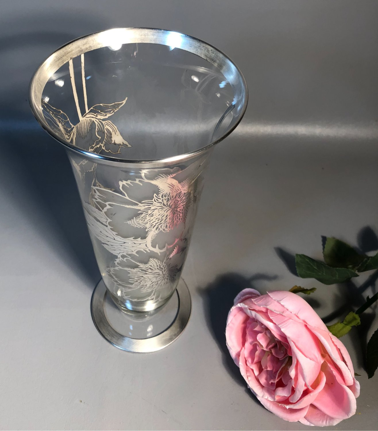Cambridge 10.5� Glass Vase w/Sterling Silver Overlay By Rockwell Peony Pattern