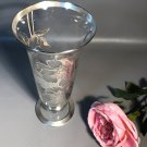 """Cambridge 10.5"""" Glass Vase w/Sterling Silver Overlay By Rockwell Peony Pattern"""