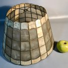 "Mid Century Modern 16"" Capiz Shell & Brass Lamp Shade Scalloped Top And Base"