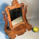 c1890 Hand Carved Shaving Stand w/Swivel Mirror & 2 Drawers Burled Walnut Dovetail Construction