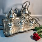 Victorian c1870 Tea Service 7 Piece Silver-plated Wm.Rogers Spring Flower 2092