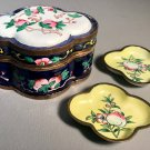 c1890 Chinese Enameled Porcelain Copper Trinket Box w/Lid Scalloped Form w/2 Small Dishes